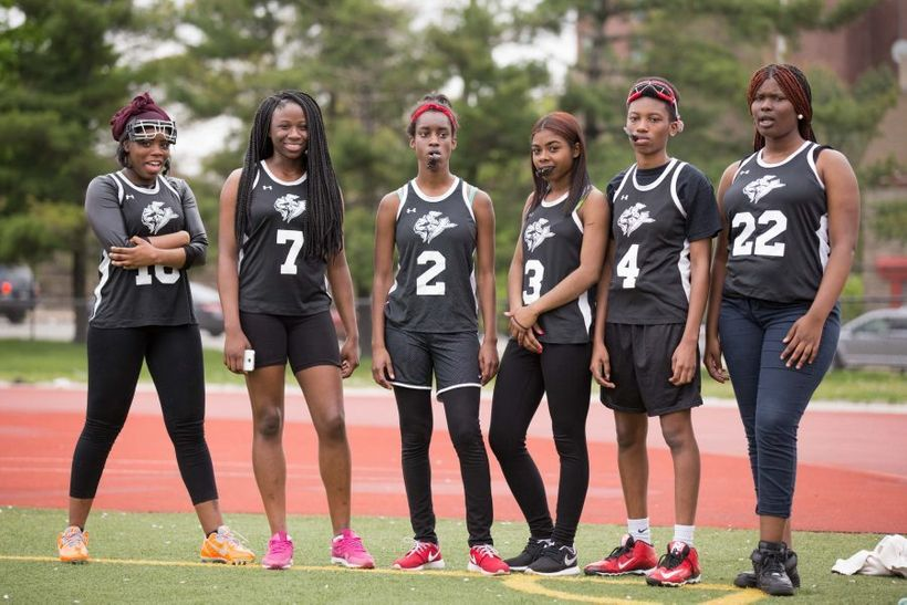 Members of the 2016-2017 Strawberry Mansion High School girl's lacrosse team, formerly coached by Eyekonz Field Hockey & Lacr