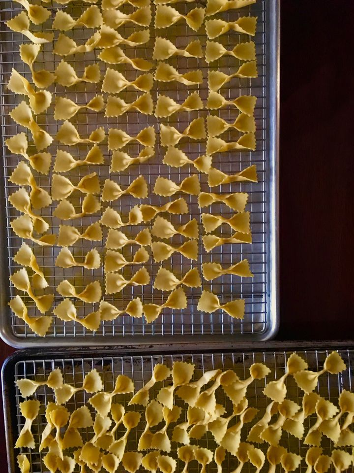 It's relaxing also to form bow tie pasta: farfalle