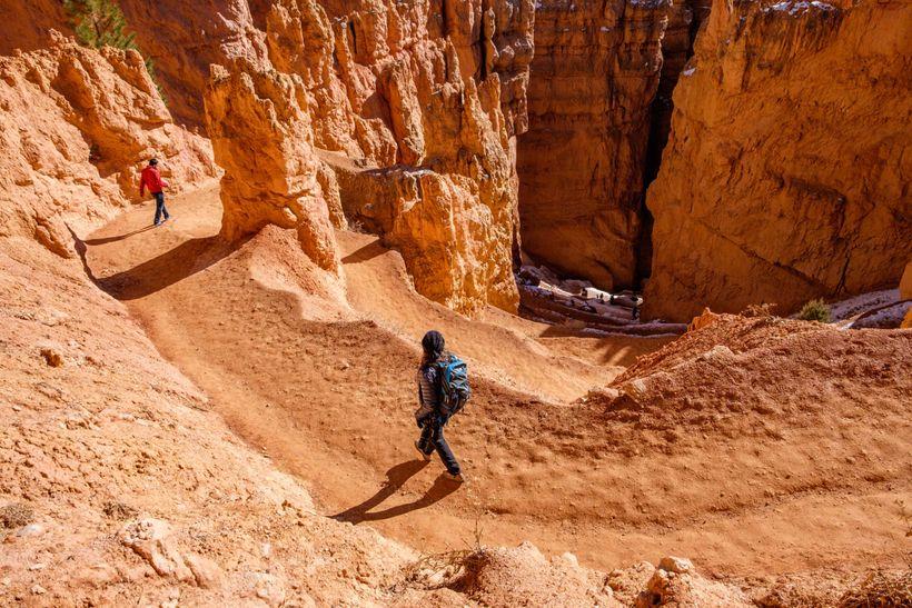 <em>Descending the Navajo Loop trail from Sunset Point.</em>