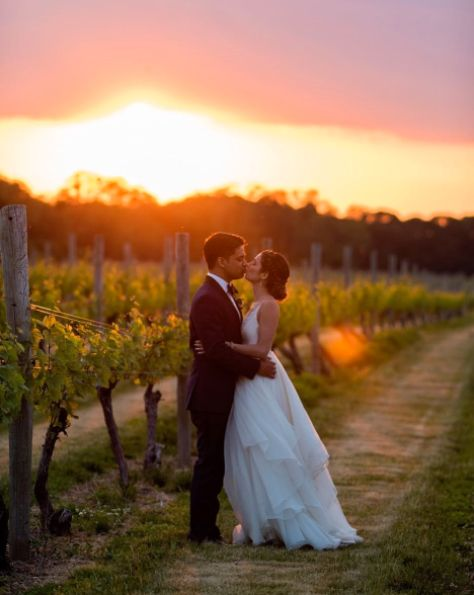 """""""The perfect ending to an amazing wedding. More sunsets in vineyards, please! Congratulations, Serena andRitesh!"""" --&nb"""