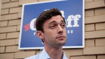 Democratic candidate Jon Ossoff is interviewed by news organizations as he campaigns for Georgia's 6th Congressional District special election in Chamblee, Georgia, U.S., June 19, 2017.  REUTERS/Chris Aluka Berry