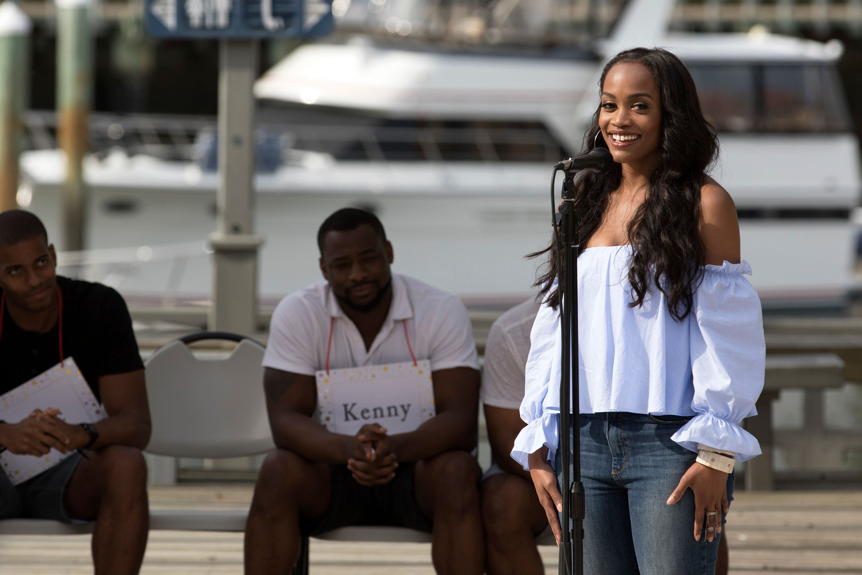 """BACHELORETTE 13 - """"Episode 1304"""" -The contentious cocktail party continues, as a frustrated Eric implores the rest of bachelors to stop talking about him to Rachel. While most of the men are perfectly content to skip the drama, one calculating guy, Lee, deceptively steals Rachel away from Kenny for a second conversation. The two bachelors' confrontation sets off a heated argument, totally distracting Rachel as she attempts to better acquaint herself with the other men. So she makes a decision that surprises all of the bachelors. After the rose ceremony, the remaining men leave the mansion to travel to beautiful, peaceful Hilton Head Island, South Carolina, where Rachel hopes to get a fresh start, on """"The Bachelorette,"""" MONDAY, JUNE 19 (8:00-10:01 p.m. EDT), on The ABC Television Network. (ABC/Bob Leverone)ERIC, RACHEL LINDSAY, KENNY"""