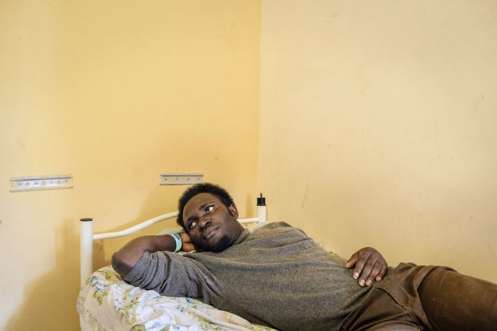 Sylvester Paul, 26, from Nigeria, at a hotel converted into a reception centre in the province of Trapani