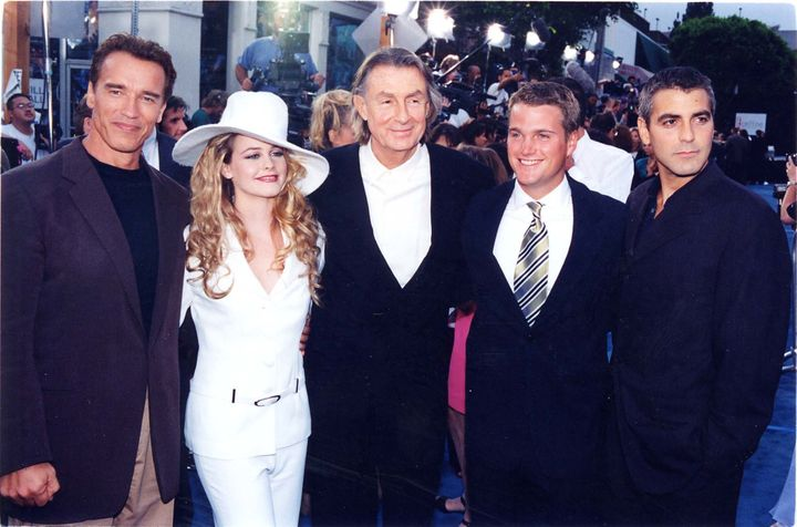Arnold Schwarzenegger, Alicia Silverstone, Joel Schumacher, Chris O'Donnell and George Clooney attend the Los Angeles premier