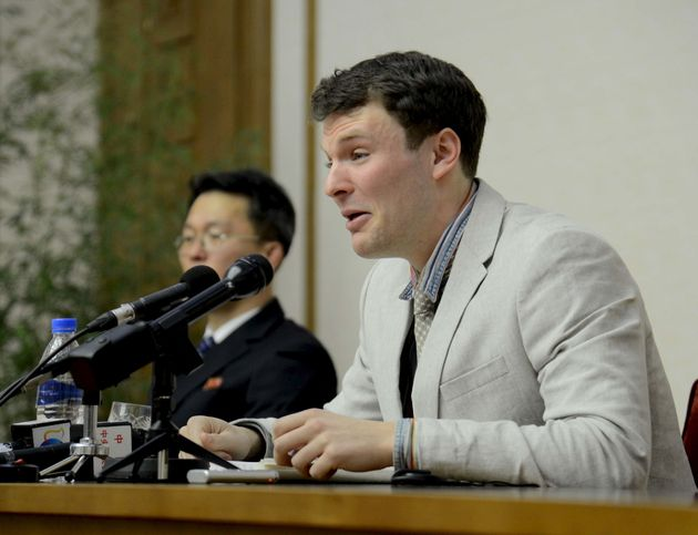 Warmbier speaks at a news conference in this undated photo released by North Korea's Korean Central News...