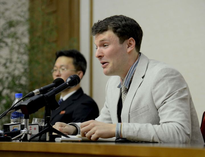 Warmbier speaks at a news conference in this undated photo released by North Korea's Korean Central News Agency (KCNA) in Pyo