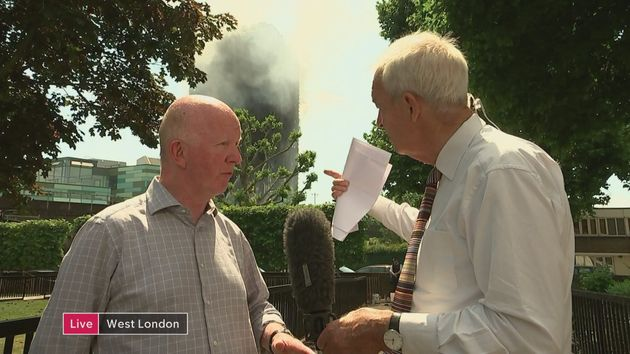 Nick Paget Brown quizzed by Channel 4 News's Jon Snow in front of Grenfell