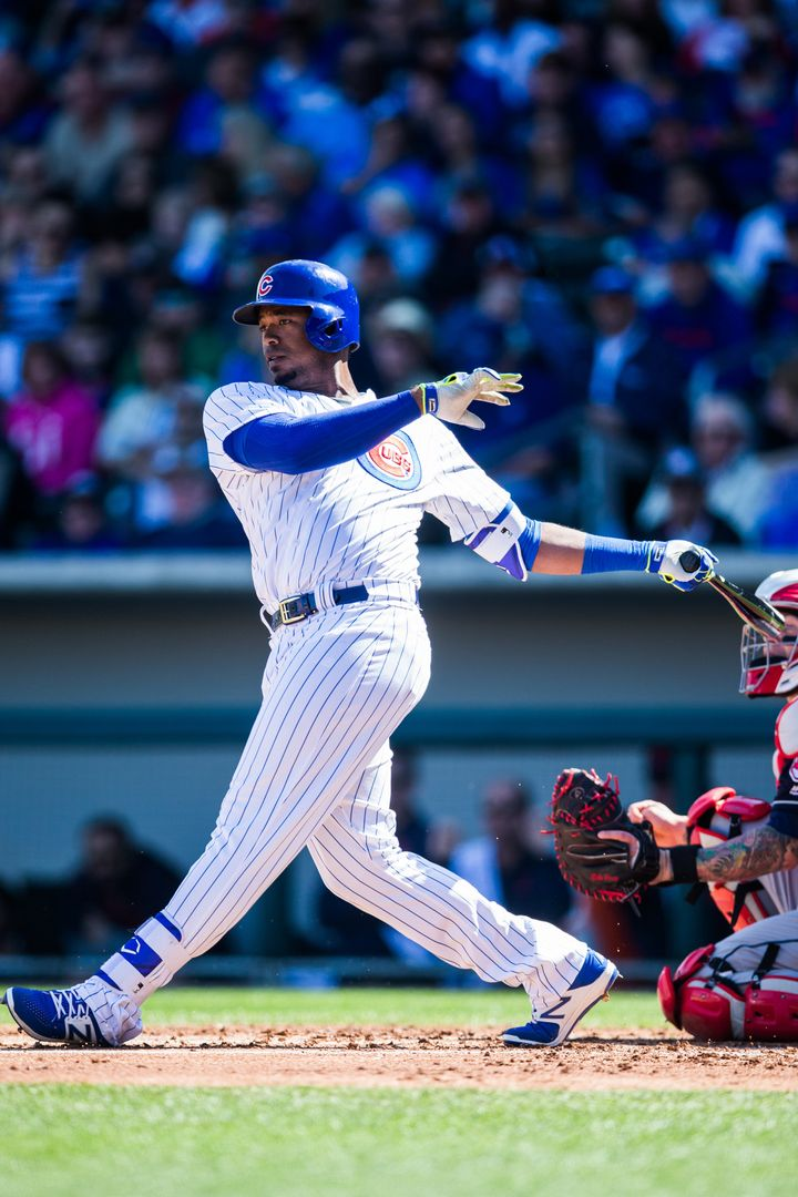 Eloy Jimenez, pictured in spring training with the Cubs, showed why he is a major league prospect in the Carolina League Home