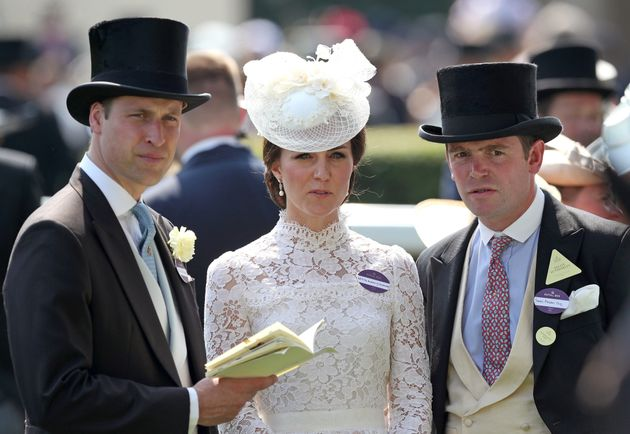 The Duke and Duchess of Cambridge and James Meades in the Parade Ring before the start of the Kings Stand...
