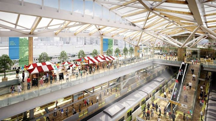 Tokyo's new station, which will be designed by renowned architect Kengo Kuma, will feature a large open ceiling space with wo