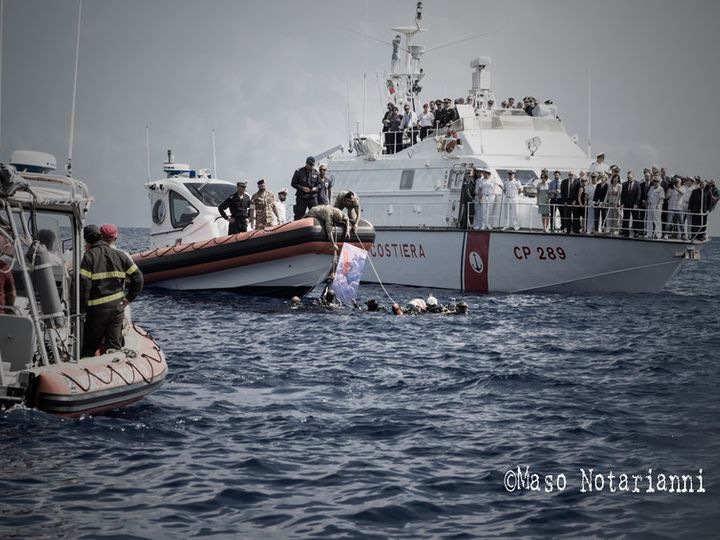 The Italian coast guard saves migrants in the central Mediterranean Sea.