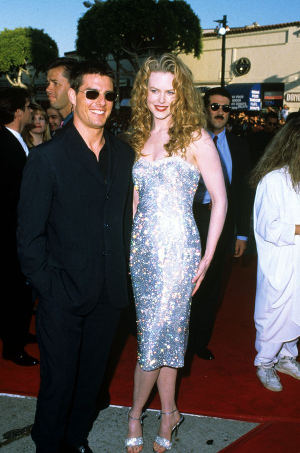 """With Tom Cruise at the """"Batman Forever"""" premiere."""