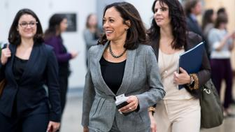 UNITED STATES - DECEMBER 7: Sen.elect Kamala Harris, D-Calif., walks through the Senate subway while speaking with reporters in the Capitol on Wednesday, Dec. 7, 2016. (Photo By Bill Clark/CQ Roll Call)