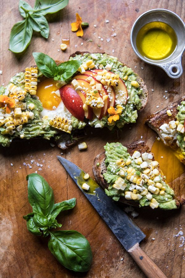 "<strong>Get the <a href=""https://www.halfbakedharvest.com/grilled-corn-feta-egg-hole-avocado-toast/"" target=""_blank"">Grilled"