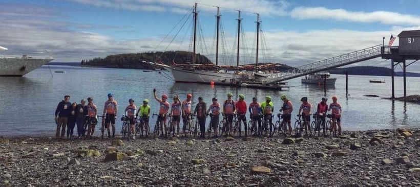 The cyclists on the very coast of Bar Harbor, ME about to start their journey to raise money & awareness for Multiple Scleros