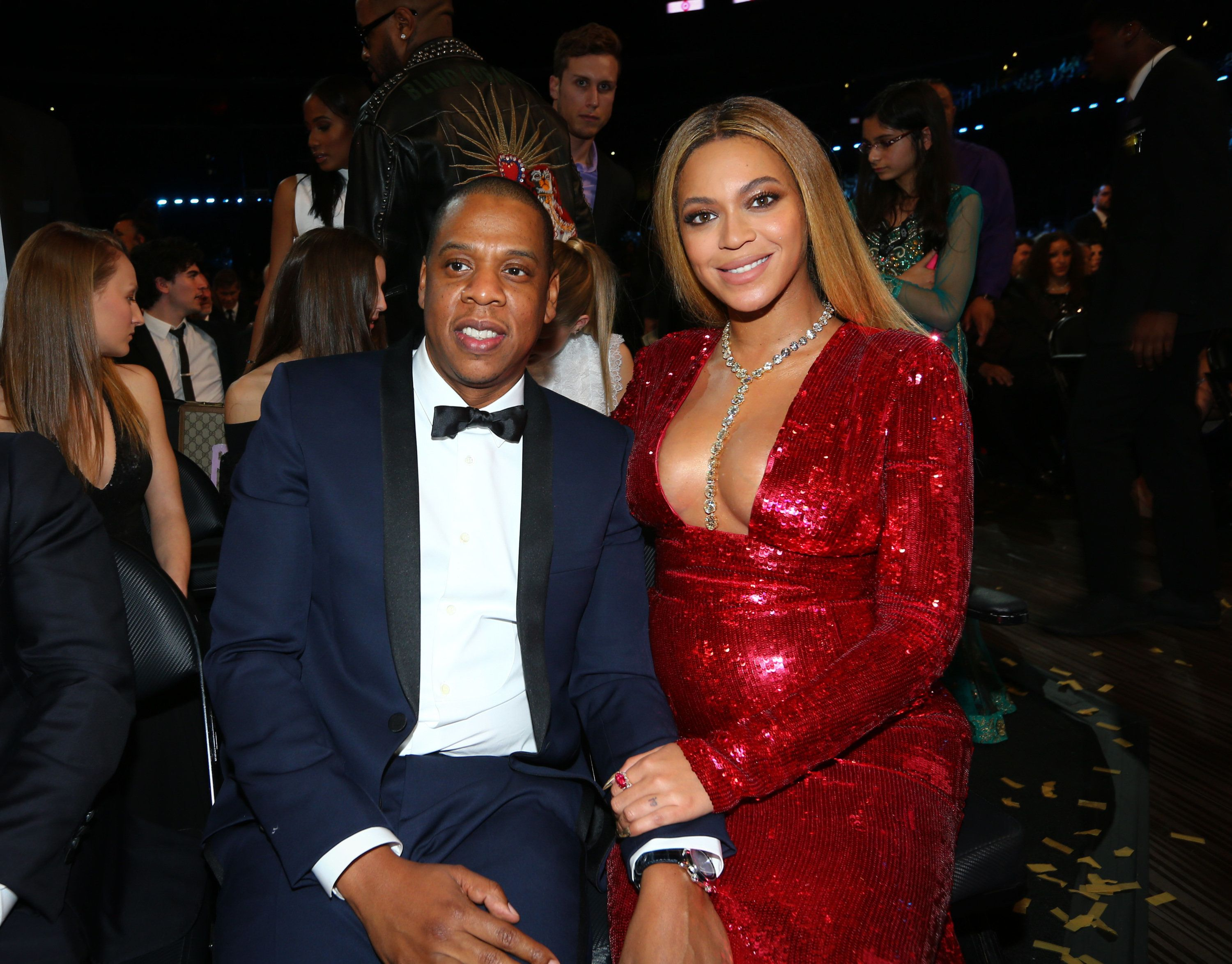 LOS ANGELES - FEBRUARY 12: Jay Z and Beyoncé attend at THE 59TH ANNUAL GRAMMY AWARDS, broadcast live from the STAPLES Center in Los Angeles, Sunday, Feb. 12 (8:00-11:30 PM, live ET/5:00-8:30 PM, live PT; 6:00-9:30 PM, live MT) on the CBS Television Network.   (Photo by Mark Davis/CBS via Getty Images)