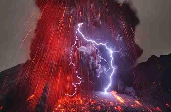 Volcanic lightning strikes during an eruption of Japan's Sakurajima volcano in February 2013.