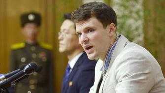 """Otto Frederick Warmbier, a University of Virginia student who has been detained in North Korea since early January, attends a news conference in Pyongyang, North Korea, in this photo released by Kyodo February 29, 2016. Warmbier was detained for trying to steal a propaganda slogan from his Pyongyang hotel and has confessed to """"severe crimes"""" against the state, the North's official media said on Monday. Warmbier, 21, was detained before boarding his flight to China over an unspecified incident at his hotel, his tour agency told Reuters in January. Mandatory credit REUTERS/Kyodo ATTENTION EDITORS - FOR EDITORIAL USE ONLY. NOT FOR SALE FOR MARKETING OR ADVERTISING CAMPAIGNS. THIS IMAGE HAS BEEN SUPPLIED BY A THIRD PARTY. IT IS DISTRIBUTED, EXACTLY AS RECEIVED BY REUTERS, AS A SERVICE TO CLIENTS. MANDATORY CREDIT. JAPAN OUT. NO COMMERCIAL OR EDITORIAL SALES IN JAPAN."""