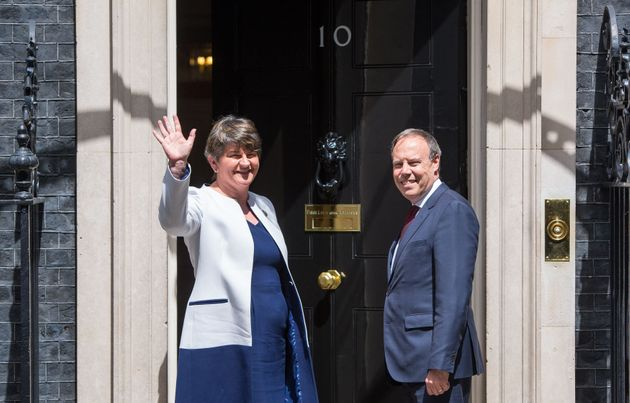 Arlene Foster and her deputy Nigel Dodds at Downing