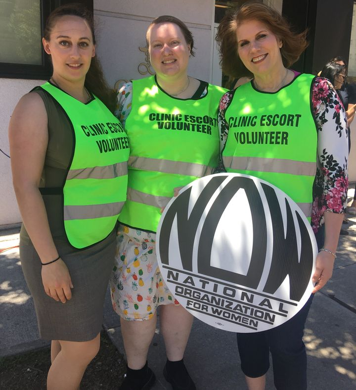 Volunteer Clinic Escort Supervisors Margot Garnick, Pearl Brady and Theresa White have spent the last year and a half wo