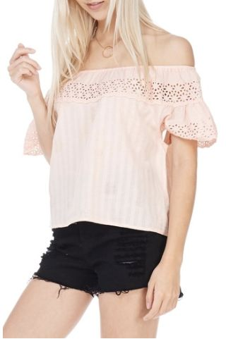 "<a rel=""nofollow"" href=""https://www.shoptiques.com/products/everly-peach-off-the-shoulder-top"" target=""_blank"">Shop this top"