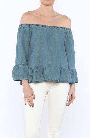 """<a rel=""""nofollow"""" href=""""https://www.shoptiques.com/products/cupcakes--cashmere-off-shoulder-chambray-blouse"""" target=""""_blank"""">"""