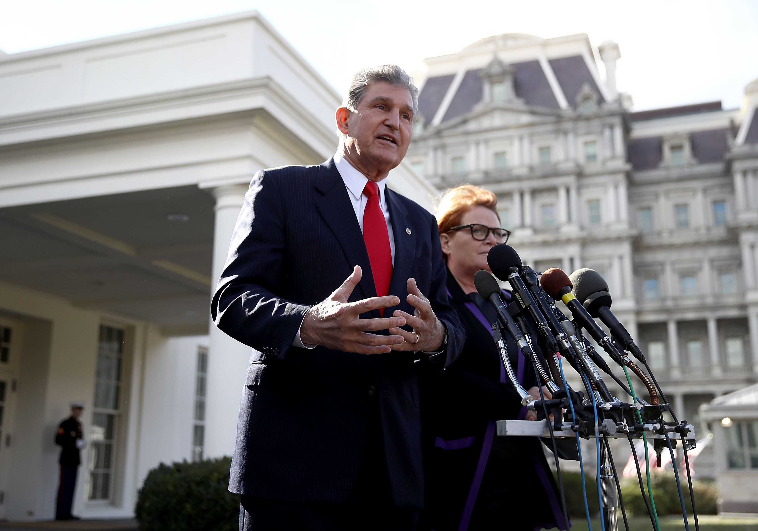 WASHINGTON, DC - FEBRUARY 09:  Sen. Joe Manchin (D-WV) and Sen. Heidi Heitkamp (D-ND) speak to members of the press following a meeting with U.S. President Donald Trump on February 9, 2017 in Washington, DC. The senators met with Trump to discuss the nomination of Judge Neil Gorsuch to the U.S. Supreme Court. (Photo by Win McNamee/Getty Images)