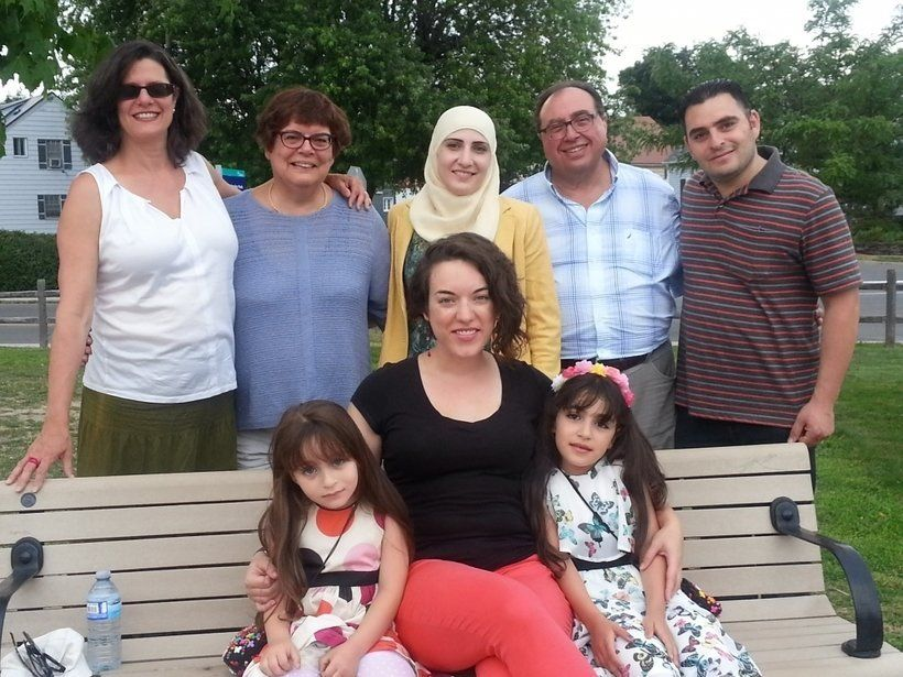 A Syrian refugee family with some of the group of 38 Canadians from Ottawa who sponsored them and are supporting them for their first year in Canada