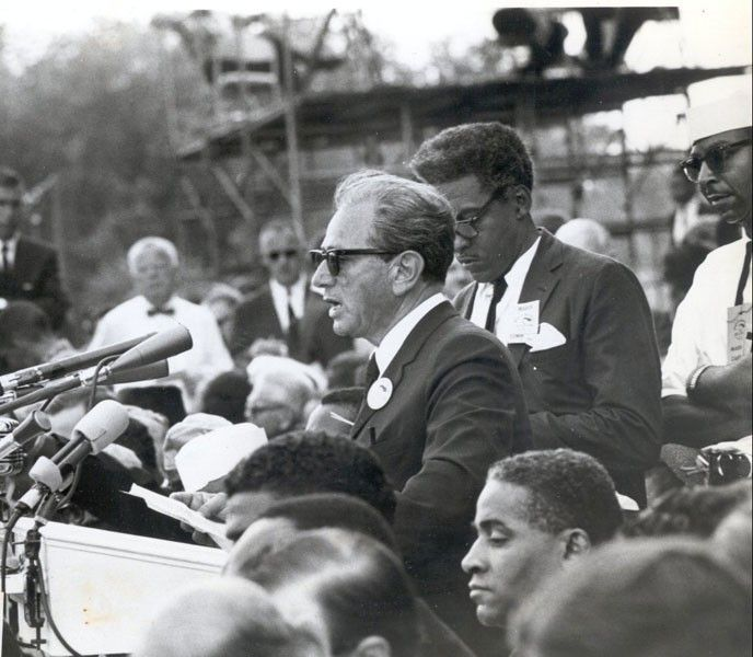 Rabbi Joachim Prinz delivering a speech at the August 1963 March on Washington for Jobs and Freedom. From <em>Prinz: The Cour