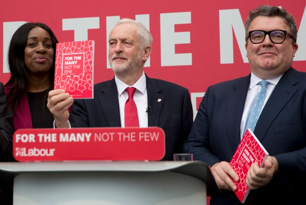 Kate Osamor, Jeremy Corbyn and Tom Watson at Labour's manifesto