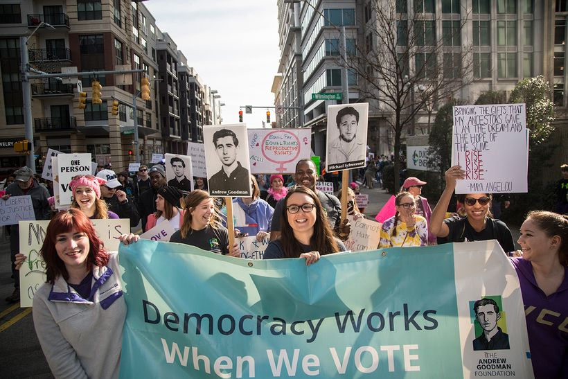 Vote Everywhere Ambassadors joined thousands of others at the 2017 Moral March in Raleigh, North Carolina.