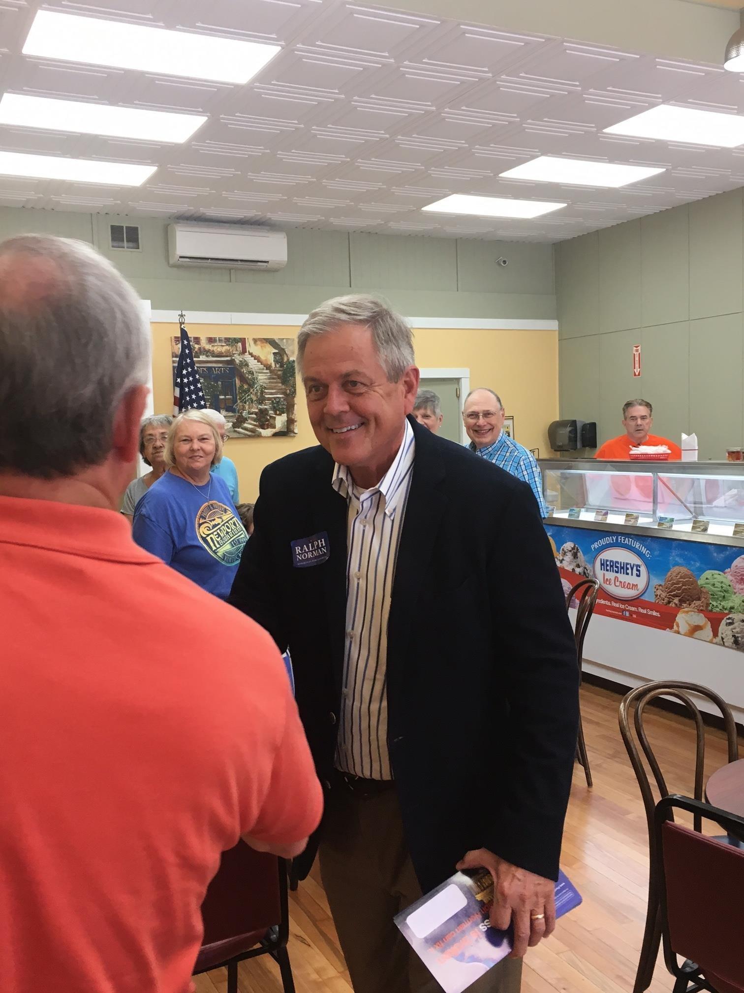 Republican Ralph Norman, right, campaigns in South Carolina's 5th District.