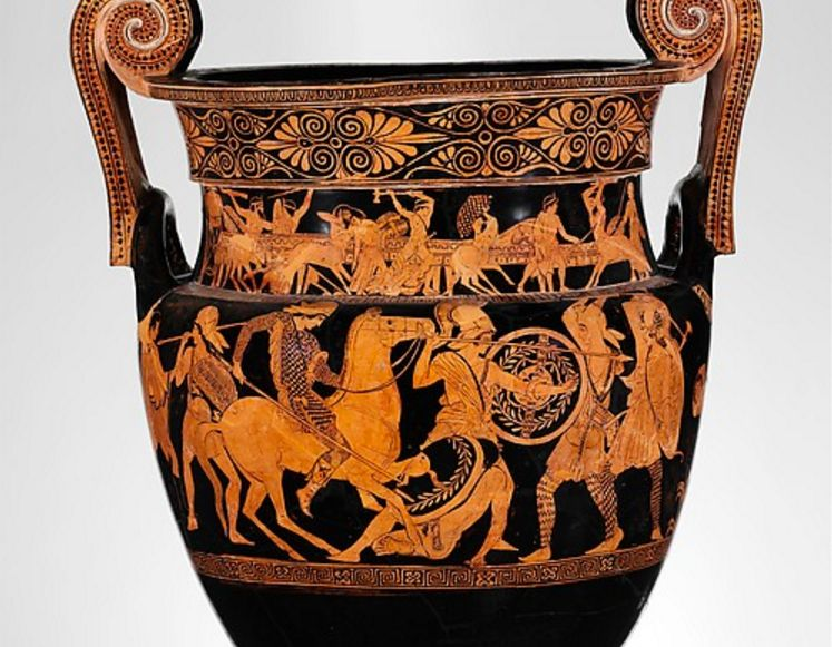 Amazonomachy (amazon war) against the Greeks, terra-cotta; red-figure volute-krater, attributed to the Painter of the Woolly