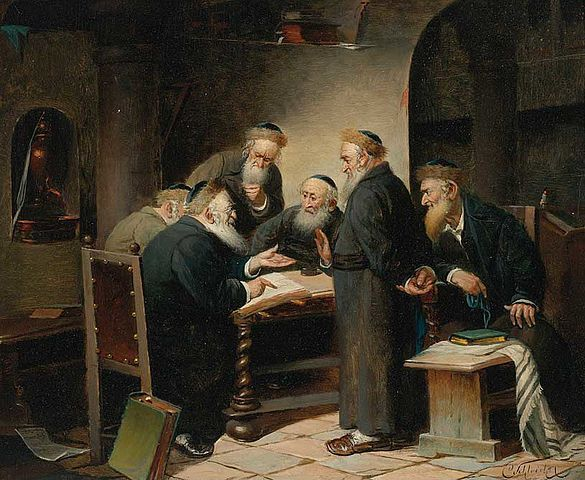 Carl Schleicher fl.c. 1859 - after 1871. A Discussion of the Talmud, a group of Rabbis debating Talmud.