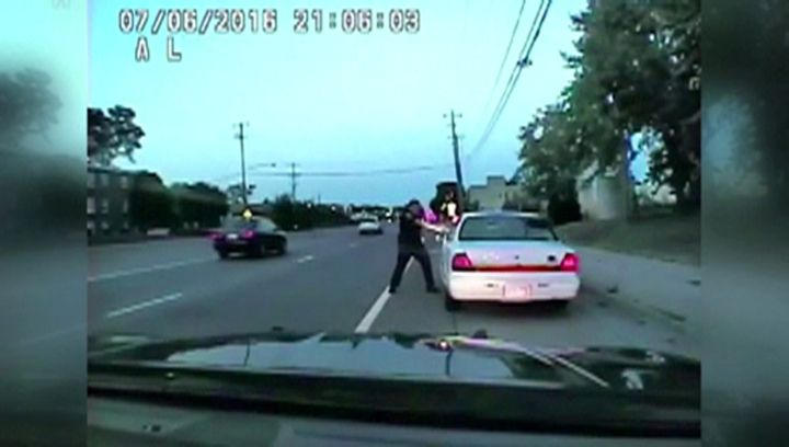 A still photo taken from a dashcam video shows the July 2016 police shooting of Philando Castile. Officer Jeronimo Yanez can