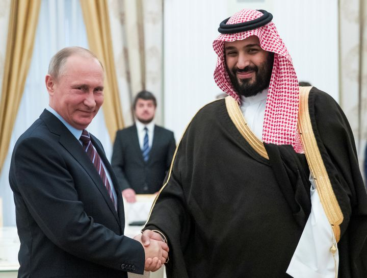 Mohammed bin Salman, right, who met with Russian President Vladimir Putin last month, was promoted to crown prince on Wednesd