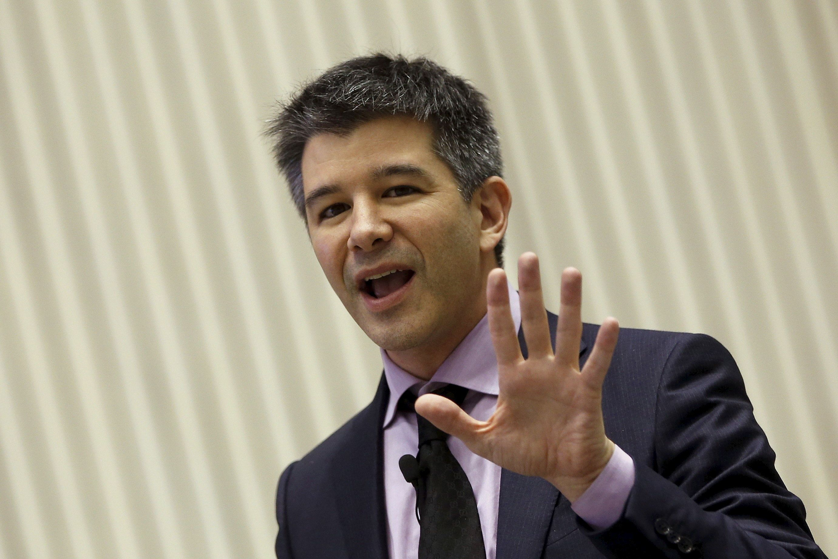 Uber CEO Travis Kalanick gestures as he addresses a gathering during a conference of start-up businesses in New Delhi, India, January 16, 2016. REUTERS/Adnan Abidi