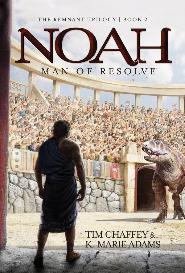 A portion of the cover of <i>Noah: Man of Resolve</i> shows the biblical figure facing a dinosaur.