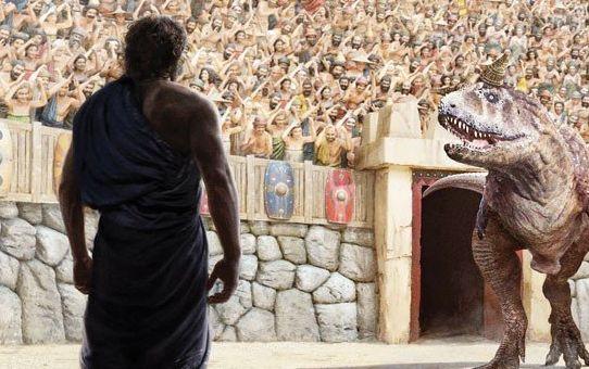 A portion of the cover of <i>Noah: Man of Resolve</i>&nbsp;shows the biblical figure facing a dinosaur.&nbsp;