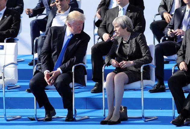 Donald Trump and Theresa May at the Nato summit this