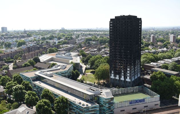 The charred remains of Grenfell Tower in