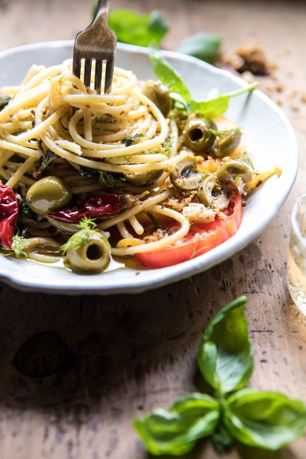 "<strong>Get the <a href=""https://www.halfbakedharvest.com/garden-fresh-herb-olive-and-parmesan-pasta-with-pistachio-breadcrum"