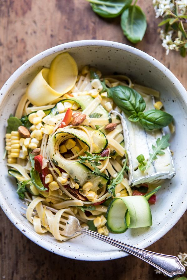 "<strong>Get the <a href=""https://www.halfbakedharvest.com/farmers-market-goat-cheese-pasta-primavera/"" target=""_blank"">Farmer"