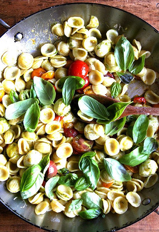 "<strong>Get the <a href=""http://www.alexandracooks.com/2010/07/18/a-super-summery-pasta/"" target=""_blank"">Orecchiette with Ch"