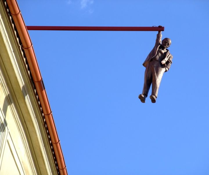 """Hanging Man"" by David Cerny - Uncertainty about intellectualism in the 20th century."