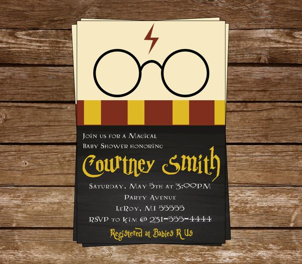 "$12, <a href=""https://www.etsy.com/listing/495991276/harry-potter-baby-shower-invitation"" target=""_blank"">McCurryStudio</a>"