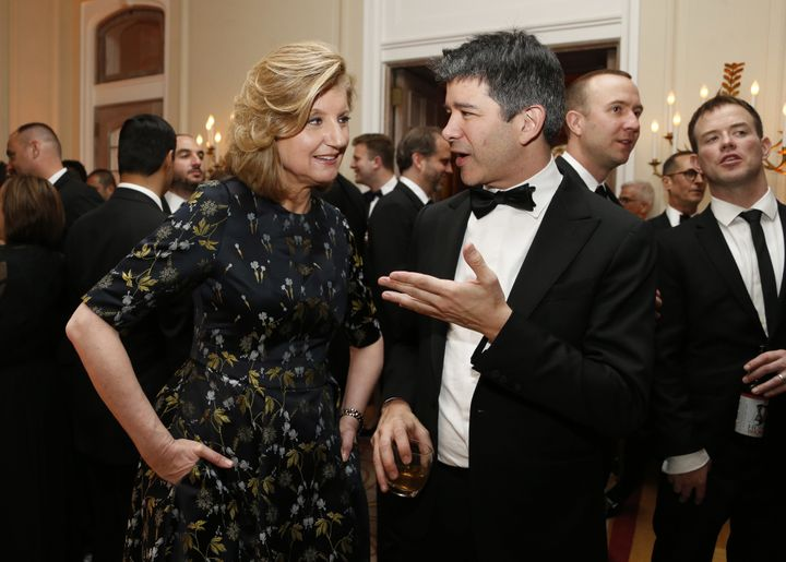 Arianna Huffington and Travis Kalanick at the 2016 White House Correspondents' Association dinner afterparty in Washington, D