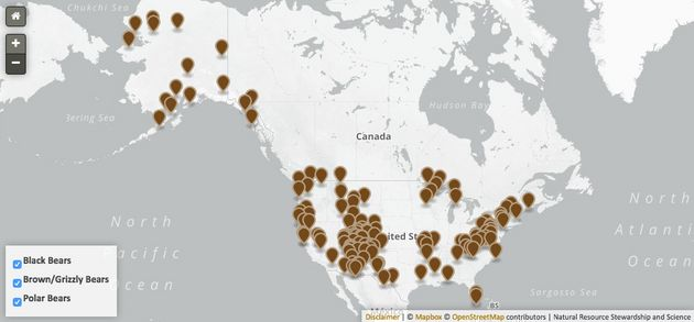 This map shows the national parks where one or more bear species have been