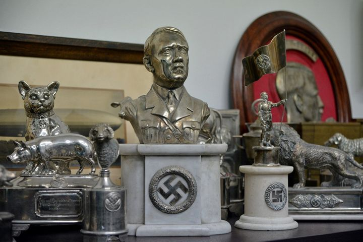A bust of dictator Adolf Hitler, among other Nazi artifacts seized in the house of an art collector, is seen in Buenos Aires