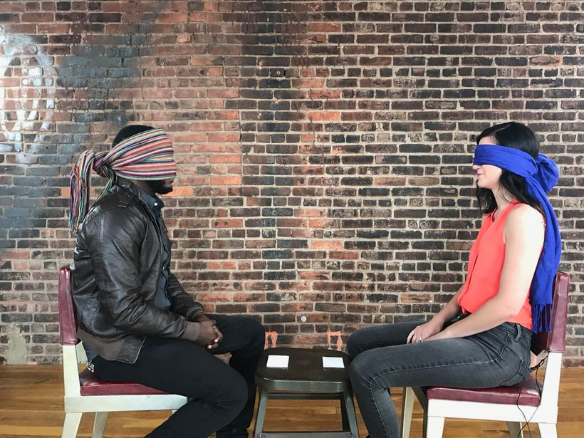 <em>#FirstDate participants David and Michelle wearing blindfolds right before they see each other in person for the first ti